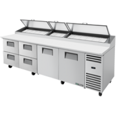 TRUE TPP-AT-119D-4-HC 119, 2 Doors & 4 Drawer Pizza Prep Table with Alternate Top & Hydrocarbon Refrigerant