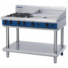 1200mm Gas Cooktop 4 Burners & 600mm Griddle On Leg Stand