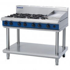 1200mm Gas Cooktop 6 Burners & 300mm Griddle On Leg Stand