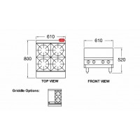 2 Burner and 305Mm Griddle Cooking Top (Bench/Stand Mounted)