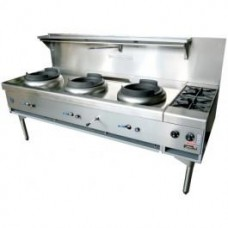 Goldstein CWA3B2 3 Burner Chinese Wok and Double Cooktop