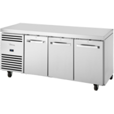TRUE TCR1/3-CL-SS-DL-DR-DR 3 Door Refrigerated Counter with SS Top