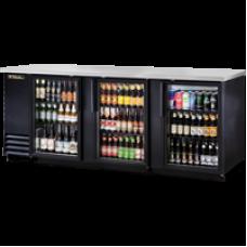 TRUE TBB-4G-LD 3 Glass Door Black Back Bar Refrigerator