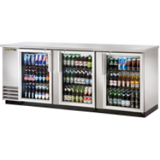 TRUE TBB-4G-S-LD 3 Glass Door Stainless Back Bar Refrigerator