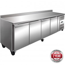 Thermaster by FED GN4200TN 4 Door Gastronorm Bench Fridge With Splashback