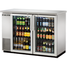 TRUE TBB-24-48G-S-LD 48, 2 Glass Door Stainless Back Bar Compact Refrigerator