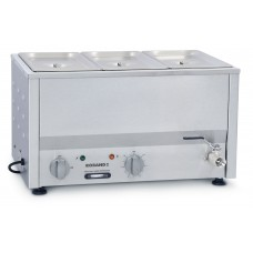 Counter Top Bain Marie, three 1/3 size pans, 150mm pans & lids included