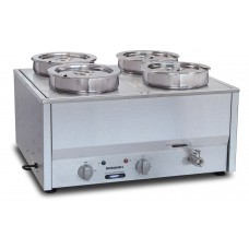 Counter Top Bain Marie, four 1/2 size pans, 200 mm round pots & lids included