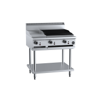 B+S Black Combination 300mm Grill Plate 600mm Char Broiler