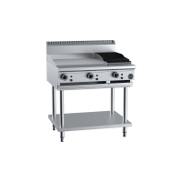 B+S Black Combination 600mm Grill Plate 300mm Char Broiler