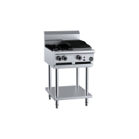 B+S Black Combination Two Open Burners 300mm Char Broiler
