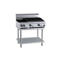 B+S Black Combination Two Open Burners 600mm Char Broiler