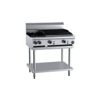 B+S Black Combination Two Open Burners 600mm Char Grill