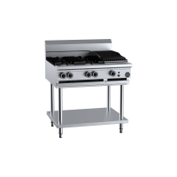B+S Black Combination Four Open Burners 300mm Char Broiler