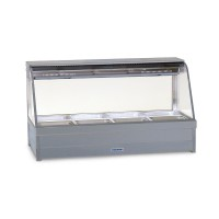 Curved Hot foodbar, double row, with 6 x 1/2 size 65mm pans