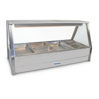 Straight Hot foodbar, double row, with 6 x 1/2 size 65mm pans