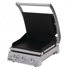 6 slice grill station, ribbed top plate and smooth bottom plate, non-stick coated (10amp)