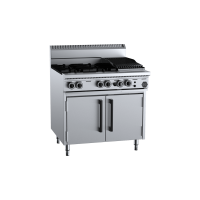 B+S Black Oven With Four Open Burners 300mm Char Broiler