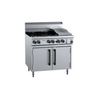 B+S Black Oven With Four Open Burners 300mm Grill Plate