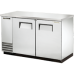 2 Solid Door Stainless Back Bar Refrigerator