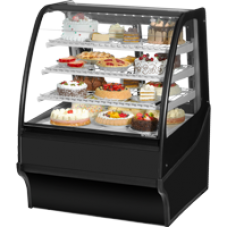 TRUE TDM-R-36-GE/GE-B-B 36, Refrigerated Display Merchendiser, Glass End, Black/Black