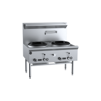 B+S Black Two Hole Deluxe Waterless Wok Table