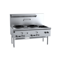 B+S Black Two Hole Deluxe Waterless Wok Table With Two Side Burners