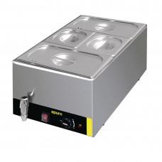 Bain Marie with Tap with Pans 2x1/3 & 2x1/6 Pans 150mm Deep Inc Lids