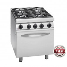 700 series natural gas 4 burner gas range with gas oven (GN 2/1) under 700 x 780 x 900mm