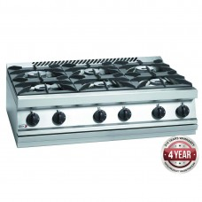 700 series natural gas 6 burner SS boiling top with cast iron trivets and burner 1050 x 780 x 290mm