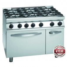 700 series natural gas 6 burner with gas oven (GN 2/1) and neutral cabinet under 1050 x 780 x 900mm