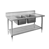 Premium Stainless Steel Bench Double Centre Sinks-2400x700
