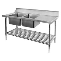 SS Dishwasher Inlet Bench Double LHS Sinks-2400mm