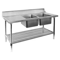SS Dishwasher Inlet Bench Double RHS Sinks-2400mm