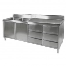 Stainless Cupboard With Double Left Sinks 2100mm