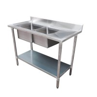 Budget Stainless Bench with Left Double Sink, 1500X600