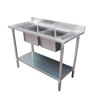 Budget Stainless Bench with Centre Double Sink, 2400X700