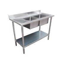 Budget Stainless Bench with Right Double Sink, 1500X700