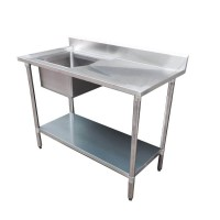 Budget Stainless Steel Bench with Left Single Sink, 1500x600