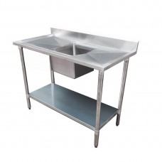 Budget Stainless Steel Bench with Centre Single Sink, 1200X700