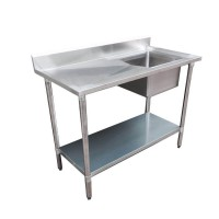 Budget Stainless Steel Bench with Right Single Sink, 1500x600