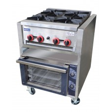 Gasmax by FED RB4-TD3NE Four Burner Gas Top With Three Tray Electric Convection Oven