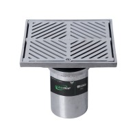 #304 Stainless Steel 200mm Heel Proof Square Floor Waste Arrestor (suits 100mm pipe)