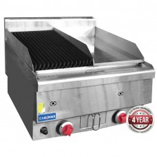 Gasmax by FED JUS-TRGH60LPG Benchtop LPG Gas Combo 1/2 Char and 1/2 Griddle