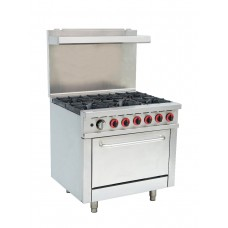 Commercial 6 Burner LPG Range With Oven Flame Failure