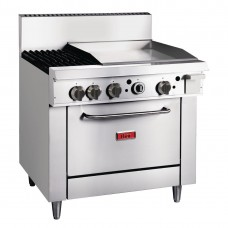 2 Burner Gas Oven Range with Griddle Plate TR-2F-G24F