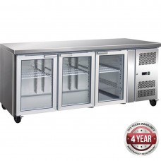 Thermaster by FED GN3100TNG 3 Glass Door Gastronorm Bench Fridge