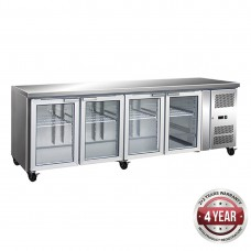 Thermaster by FED GN4100TNG 4 Glass Door Gastronorm Bench Fridge