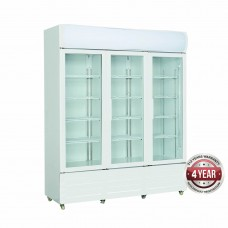Three Glass Door Fridge, White With Iluminated Canopy