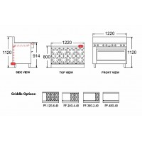 Gas 2 Burner and 914mm Griddle Range - 1010mm Oven (40